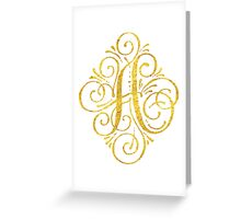 Golden Monogram Calligraphy A Greeting Card