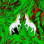 Prancing Unicorns on green by Dennis Melling