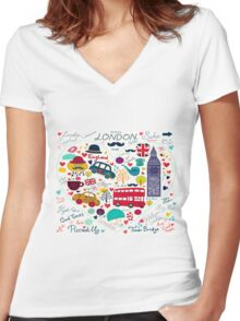 London Romantic Women's Fitted V-Neck T-Shirt