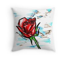 Red Rose in the Clouds Throw Pillow