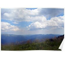 Beautiful natural scenery with mountains and cloudy sky. Poster