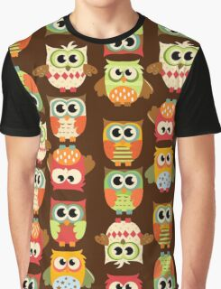 Adorable Retro Fall Owls Graphic T-Shirt