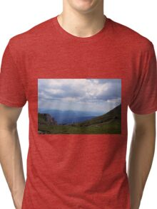 Beautiful natural scenery with mountains and cloudy sky. Tri-blend T-Shirt