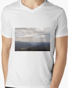 Beautiful natural scenery with mountains and cloudy sky. Mens V-Neck T-Shirt