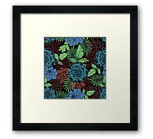 Blue floral. Flower garden. Tropical blue. Framed Print
