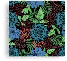 Blue floral. Flower garden. Tropical blue. Canvas Print