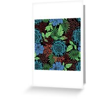 Blue floral. Flower garden. Tropical blue. Greeting Card