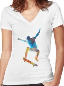 Man skateboard 01 in watercolor Women's Fitted V-Neck T-Shirt