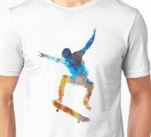 Man skateboard 01 in watercolor Unisex T-Shirt