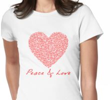 Peace & Love - Peace Sign Heart .  Womens Fitted T-Shirt