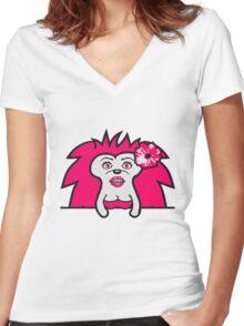 wandern laufen gehen kleiner süßer niedlicher igel kind baby stacheln  Women's Fitted V-Neck T-Shirt