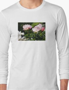 PINK AND WHITE FLOWERS WITH GREENERY Long Sleeve T-Shirt