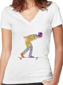 Man skateboard 03 in watercolor Women's Fitted V-Neck T-Shirt