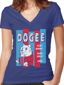 DOGEE - VERY DRINK, SUCH COLD, WOW Women's Fitted V-Neck T-Shirt