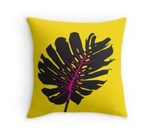 Monstera yellow Throw Pillow