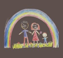 Rainbow And A Happy Family One Piece - Short Sleeve