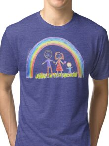 Rainbow And A Happy Family Tri-blend T-Shirt