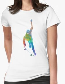 Man skateboard 04 in watercolor Womens Fitted T-Shirt