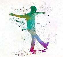 Man skateboard 07 in watercolor by paulrommer