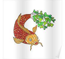 Koi Nishikigoi Carp Fish Microgreen Tail Drawing Poster