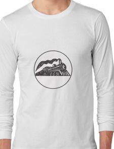 Steam Train Locomotive Coming Up Circle Woodcut Long Sleeve T-Shirt