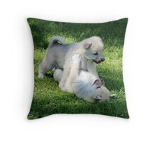 Playful Puppies Wrestling Throw Pillow