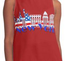 New York Skyline American Flag Art Contrast Tank