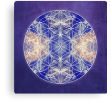 Flower of Life Blue Canvas Print
