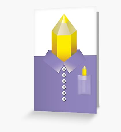 Pencil man – wearing a purple shirt Greeting Card