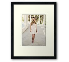 happy Blonde woman Framed Print