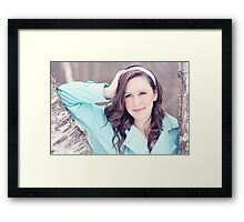Portrait of beautiful young happy smiling woman Framed Print