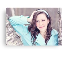 Portrait of beautiful young happy smiling woman Canvas Print