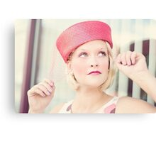 Portrait of beautiful young blond woman Canvas Print