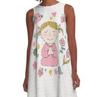 Meditation Cute Little Girl  A-Line Dress