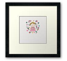 Meditation Cute Little Girl  Framed Print