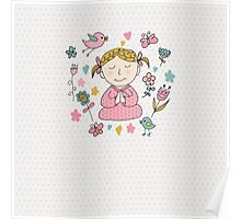 Meditation Cute Little Girl  Poster