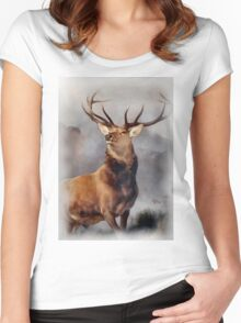MONARCH OF THE GLEN, Digital Painting of this famous Stag Women's Fitted Scoop T-Shirt