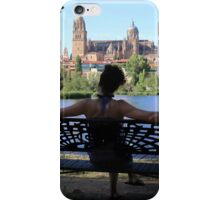 woman sit on park bench iPhone Case/Skin