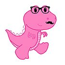 Hipster Dino -Pink 1 by Jessica Latham