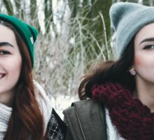 two hipster  girls playing in winter  Sticker