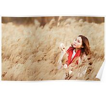 Asian woman in a wheat field Poster