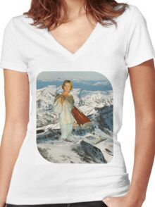 She will Hover Day and Night Women's Fitted V-Neck T-Shirt