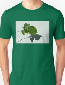 Sophisticated Shadows - Glossy Hazelnut Leaves on White Stucco - Horizontal View Right Upwards Unisex T-Shirt