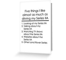 5 Things I Like - Series 2A Greeting Card