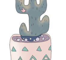 Cactus Digital Drawing  Sticker