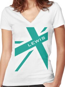 Lewis Hamilton - Team Colours Women's Fitted V-Neck T-Shirt
