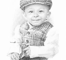 Baby boy in a newsboy cap drawing by Mike Theuer