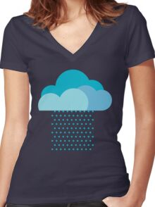 We love weather! rain, clouds, water, raindrop, spring, summer, autumn Women's Fitted V-Neck T-Shirt