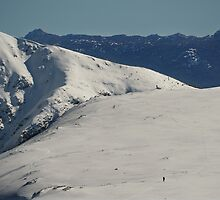 Two skiers, big landscape by Kevin McGennan