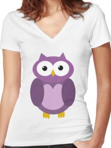Transparent purple owl Women's Fitted V-Neck T-Shirt